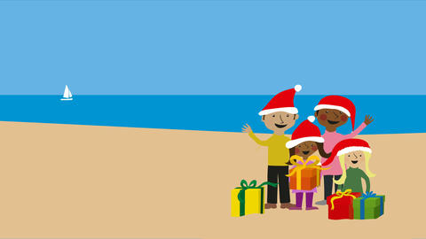 Christmas on warm beach with family in santa hats Animation