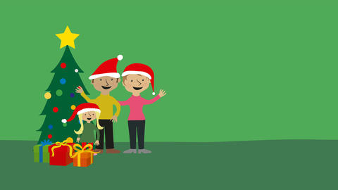 Christmas greeting family in santa hats Animation