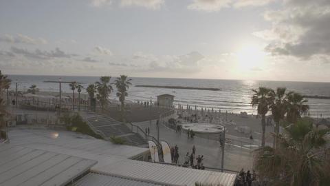 Busy ocean coastline seen from above Footage