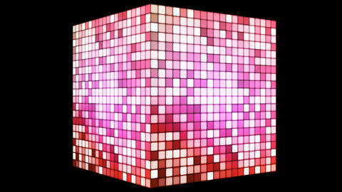 Broadcast Hi-Tech Twinkling Spinning Cube, Pink, Corporate, Alpha Matte, Loopable, 4K Animation