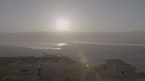 Timelapse of hazy sunrise over ancient city Footage