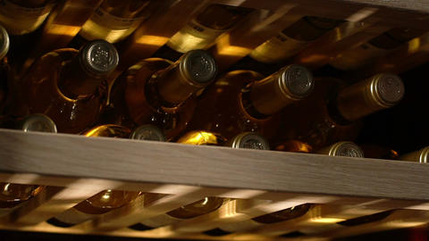 Macro Collectible Red Wine Bottles Located on Shelves Live Action