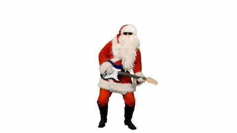 Santa Сlaus in sunglasses playing guitar, alpha channel Footage