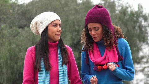 Teen Female Friends Cold Weather Live Action