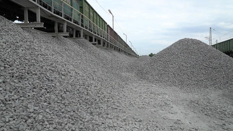 Unloading Railway Platform. The Mountains Of Crushed Granite. 0