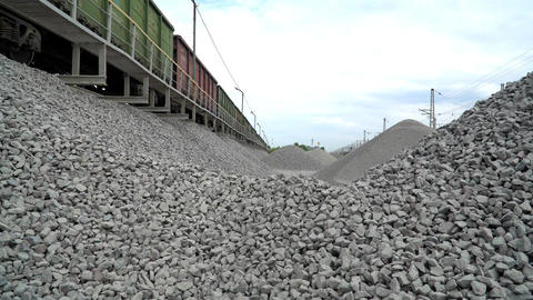 Unloading Railway Platform. The Mountains Of Crushed Granite. 1