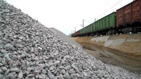 Unloading Railway Platform. The Mountains Of Crushed Granite. 2