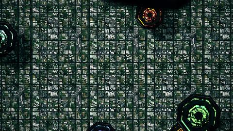 4K Satellite View of Multicolor UFO Invasion over Suburban Area 2 Animation