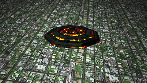 4K UFO Flying over Huge Suburb Aerial 1 Animation