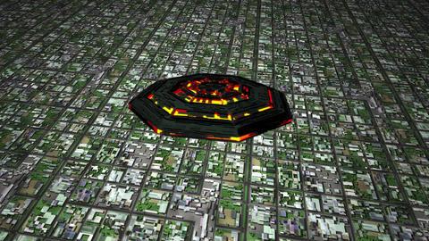 4K UFO Flying over Huge Suburb Aerial 1 Animation