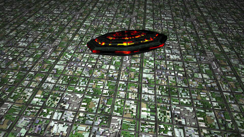4K UFO Flying over Huge Suburb Aerial 1, Stock Animation