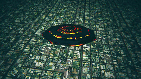 4K UFO Flying over Huge Suburb Aerial 3 Animation