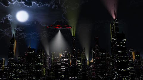 4K UFO over Modern City at Night 1 Animation