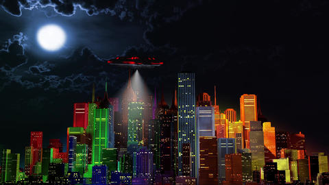 4K UFO over Modern Vivid Color City at Night 2 Animation