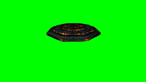 4K UFO Semi Top Camera View Greenscreen Animation