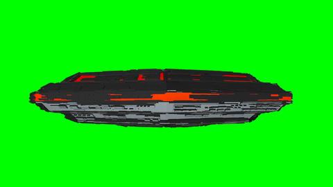 UFO Side View Seamless Loop Greenscreen, Stock Animation