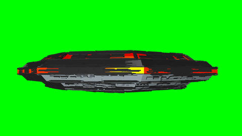 UFO Side View Seamless Loop Greenscreen Animation