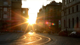 city - urban street with cars - sunrise - buildings Footage