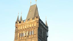 vintage building - tower Charles bridge Footage