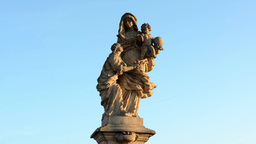 Historical statue (religion - christianity) - blue sky Footage