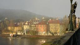 city - urban vintage buildings - sunrise - roofs of buildings - morning mist - b Footage