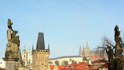 city Prague, Czech Republic - autumn trees - historic urban buildings (red roofs Footage