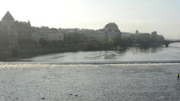 panorama of city (Prague, Czech Republic) - river with urban vintage buildings - Footage