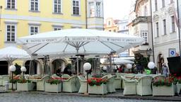 urban street (city) - exterior restaurant empty outdoor seating (morning) - peop Footage