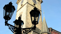 vintage lamp (silhouette) - Astronomical Clock: Tower with blue sky - Prague, Cz Footage