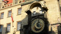Astronomical Clock: Clock - Prague, Czech Republic - closeup - sunny Footage