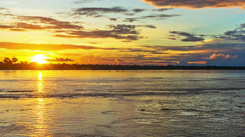 Dramatic Amazon River Sunset Footage
