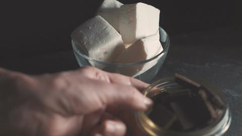 Ingredients for cooking marshmallow video side view closeup Archivo