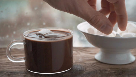 Cup with cocoa and marshmallow, ceramic bowl with marshmallow on the windowsill Archivo