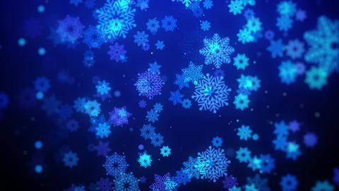 Christmas animation background (blue theme) with snowflakes falling in stylish Animation