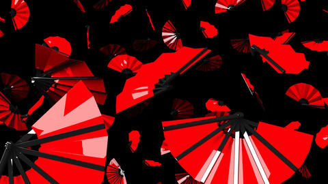 Red Fans On Black Background CG動画