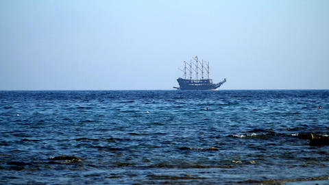 pirate ship sailing in sea Footage