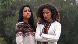 Serious Hispanic Teen Girls Live Action