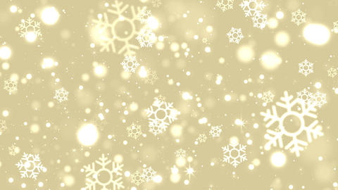 Gold Christmas background with glittering bokeh snowflakes and star, looped Animation