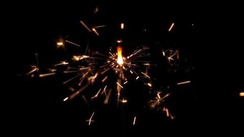 Sparkler bengal fire on black background Live Action