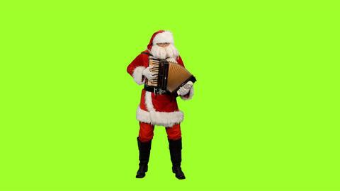 Santa Claus playing accordion on green screen background, Chroma key Footage