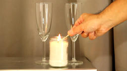 Candle and two champagne glass ビデオ