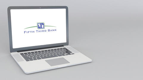 Opening and closing laptop with Fifth Third Bank logo. 4K editorial animation Footage
