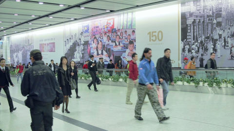 China, Hong Kong - 04 March 2015: People in Metro Transition Footage