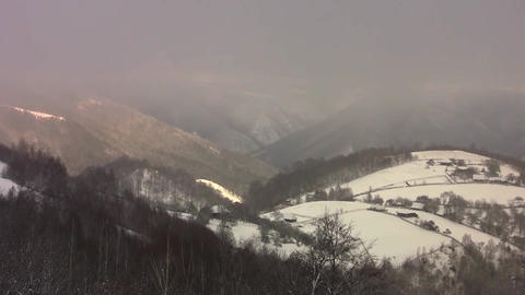 Timelapse and view over the mountains covered with snow during a cold winters 20 Footage