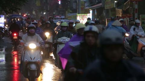 Vietnam, Hanoi - 07 March 2015: Traffic on the evening street Live Action