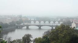 panorama of city - Prauge (Czech Republic) - morning mist - nature Footage