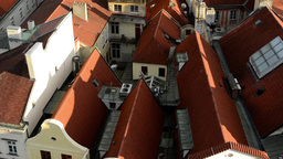 city (Prague) - urban buildings - roofs of buildings - sunny - closeup (detail) Footage