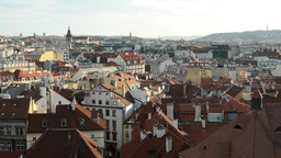 city (Prague) - urban buildings - roofs of buildings - sunny Footage