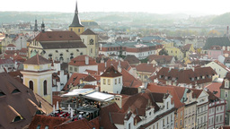 city (Prague) - urban buildings - roofs of buildings - sunny - rooftop restauran Footage