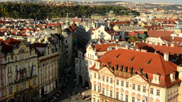 city (Prague) - urban vintage buildings - roofs of buildings - sunny - forest (t Footage
